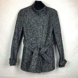 [Express] Black and White Twill Tweed Coat-xs
